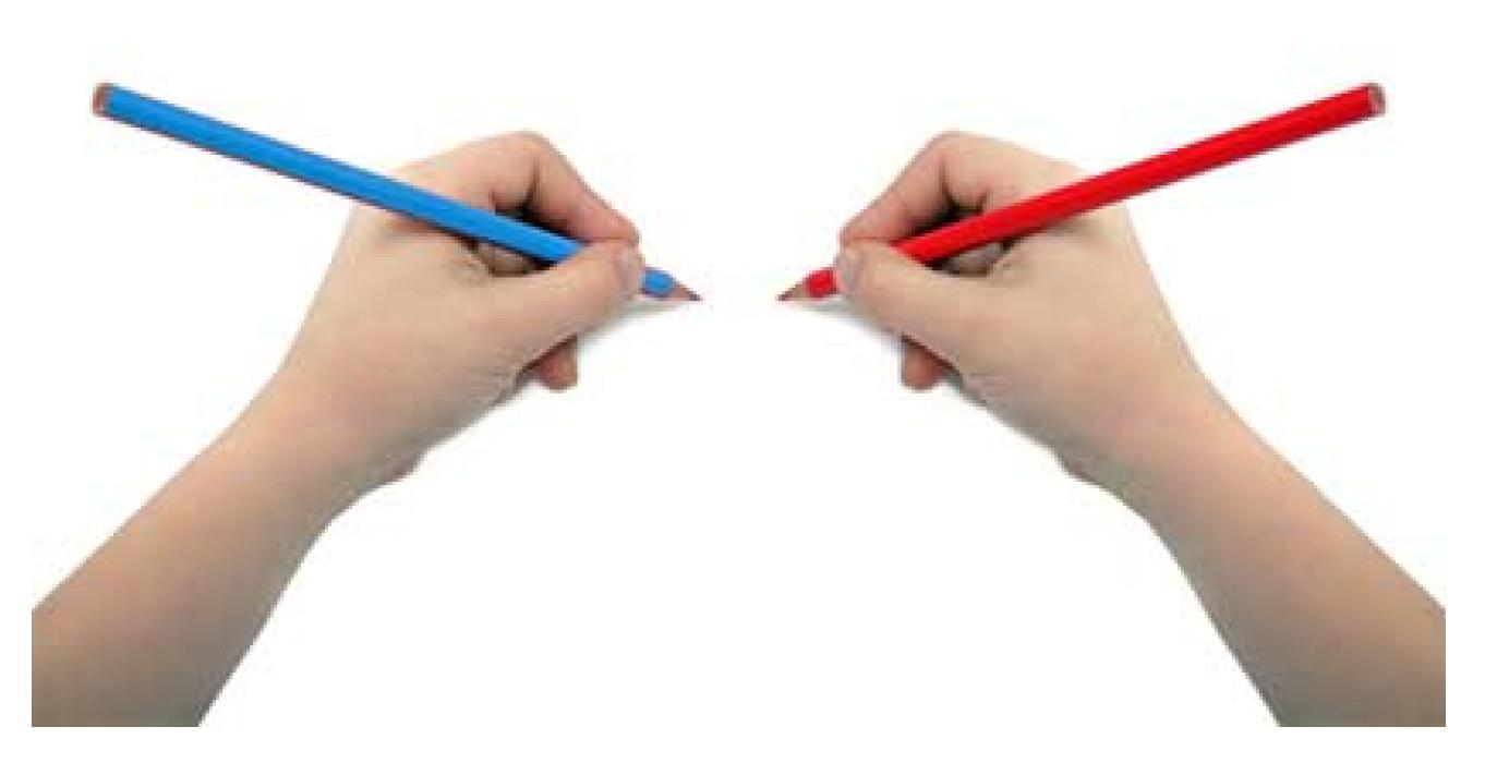 right and left hands with pencil