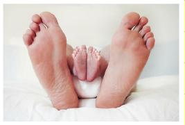 big and small feet inside each other