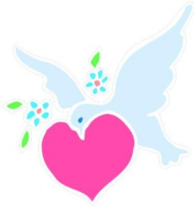 peace-dove and heart