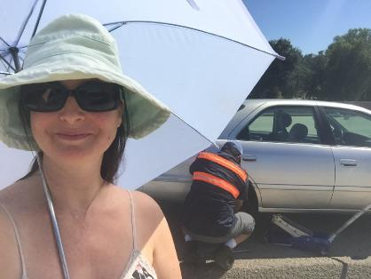 Flat tire and umbrella